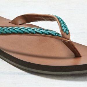 Zumiez Shoes - Zumiez Boho Teal Braided Tribal Leather Flip Flops